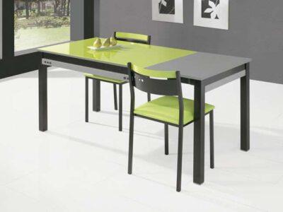 Mesa cocina cristal verde extensile de carro