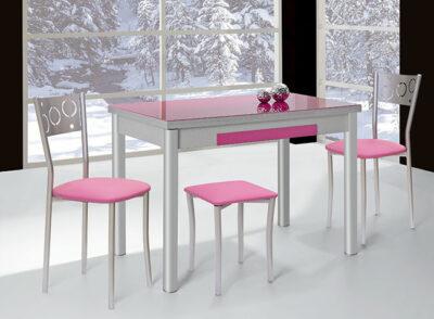 Mesa cocina fucsia extensible con cajón cubertero