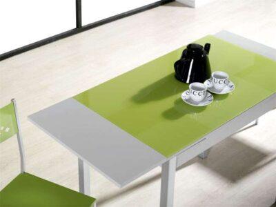 Mesa cocina verde extensible dos alas