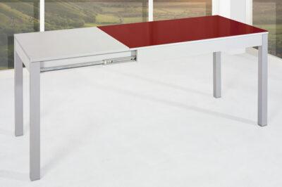 Mesa de cocina roja y blanca extensible