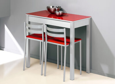 Mesa de cocina roja fija con patas de aluminio