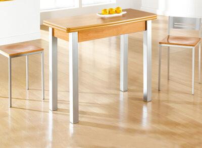 Mesa libro cocina extensible madera y aluminio