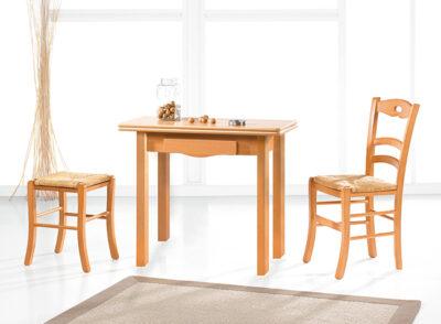 Mesa madera rústica cocina con cajón para cubiertos