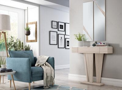 Mesa recibidor de madera con cajones color roble