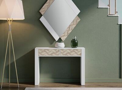 Mesa recibidor estrecha blanca con cajones dibujo 067CO30124