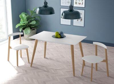 Mesas de cocina estilo nórdico blanco y madera