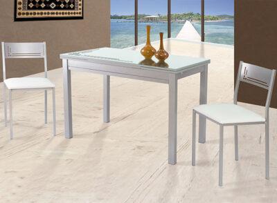 Mesas de cocina extensibles con cajón cubertero de aluminio