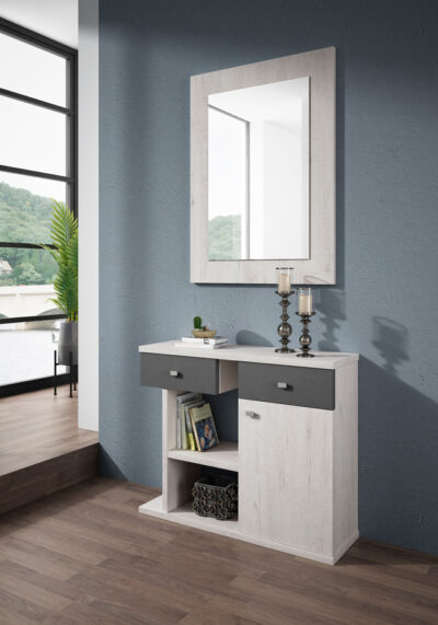 Mueble con espejo para recibidor con cajones