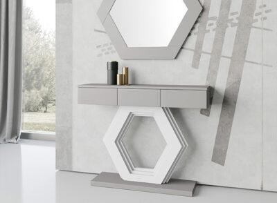 Mueble consola recibidor gris con cajones