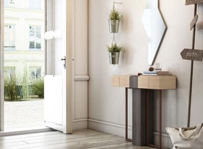 Mueble pequeño para recibidor con estante cajón madera y negro