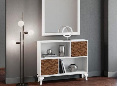 Mueble recibidor clásico blanco con estantes