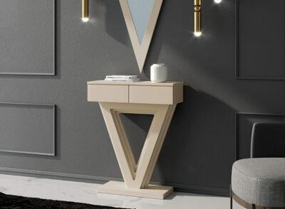 Mueble recibidor colgante de consola lacada con dos cajones
