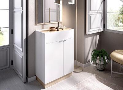Mueble recibidor con espejo y zapatero color blanco y madera 006DEK4334386