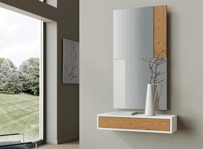 Mueble recibidor estilo nórdico blanco y madera