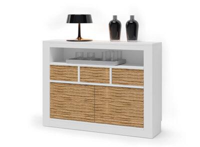 Mueble recibidor estrecho blanco con estantes puertas y cajones