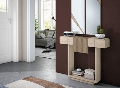 Mueble recibidor madera estrecho