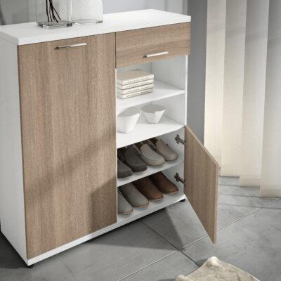 Mueble zapatero madera blanco con cajón 362HI31240