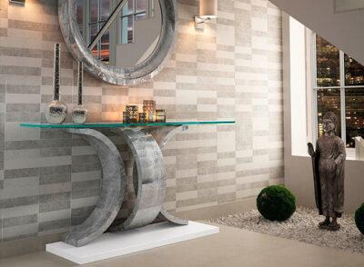 Recibidor cristal y piedra de diseño moderno con espejo