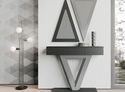 Recibidor entrada moderno gris y negro con cajones