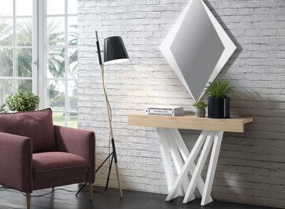 Recibidor escandinavo balda de madera y patas blancas