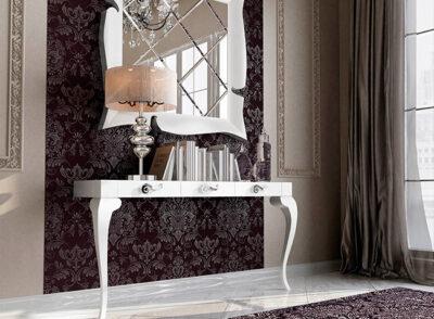 Recibidor estilo isabelino color blanco con espejo