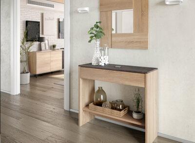 Recibidor rústico madera estrecho con espejo a juego