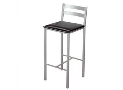 Silla alta de cocina con respaldo en aluminio y asiento polipiel