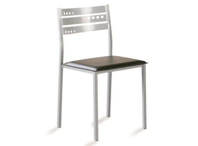 Silla aluminium con asiento de polipiel negra