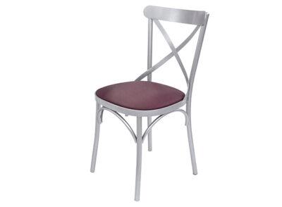 Silla crossback de aluminio gris con asiento en polipiel