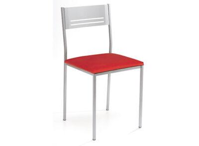 Silla moderna de metal con asiento polipiel