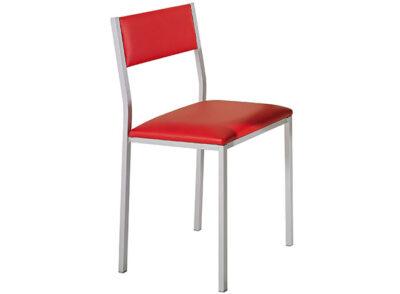 Silla tapizado rojo y estructura de aluminio