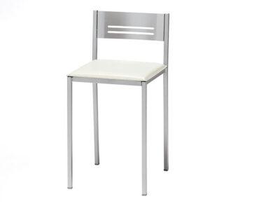 Taburete aluminio con respaldo asiento blanco polipiel
