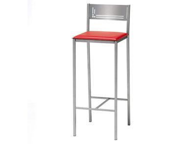Taburete cocina rojo con respaldo y estructura de aluminio