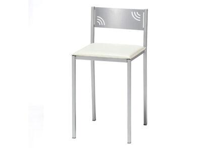 Taburete de aluminio con asiento tapizado en polipiel blanca