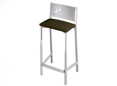 Taburete estrecho de aluminio con asiento polipiel