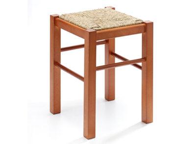 Taburete madera natural con asiento de fibra