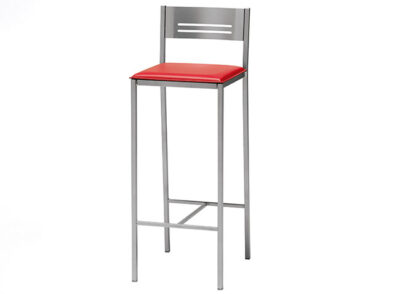 Taburete metálico de aluminio con asiento de polipiel