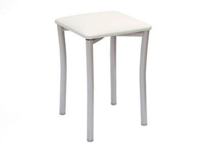 Taburete pequeño color blanco con asiento de polipiel