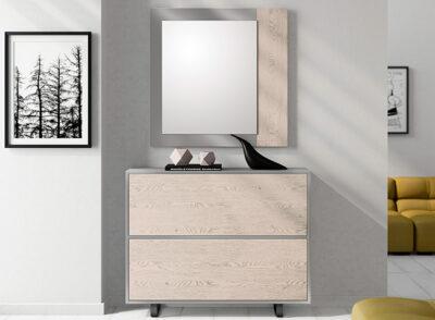 Zapatero mueble recibidor gris y madera natural
