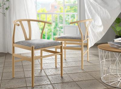 Silla nórdica metal imitación madera con asiento tapizado