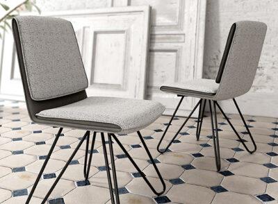 Sillas minimalistas para comedor tapizada en dos colores
