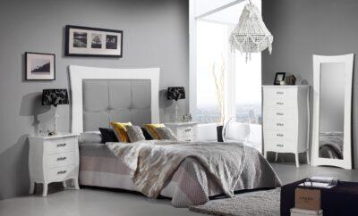 Cabecero blanco tapizado en gris