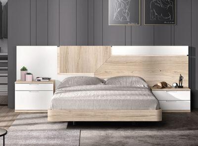 Cabecero nórdico con mesitas de noche blanco y madera
