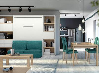 Dormitorio matrimonio abatible con sofá