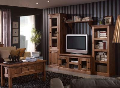 Muebles de salón rústicos con bajo TV y vitrinas estilo Mexicano