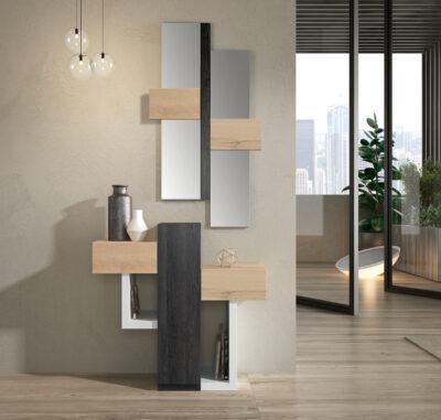 Recibidor minimalista con espejo madera, blanco y negro