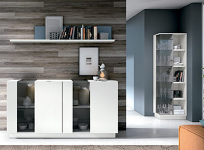 Aparador moderno salón color blanco puertas cristal