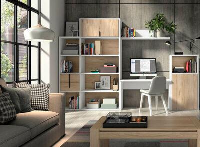 Estantería con escritorio salón blanco y madera