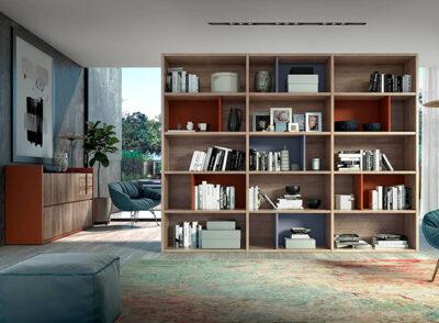 Estanterías modernas para salón color madera