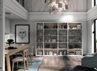 Estanterías salón madera y blanco con puertas de cristal